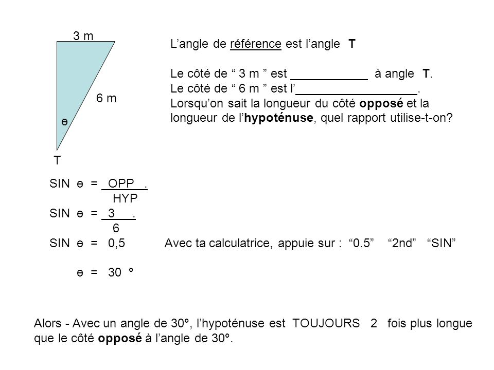 3 m L'angle de référence est l'angle T. Le côté de 3 m est à angle T. Le côté de 6 m est l' .