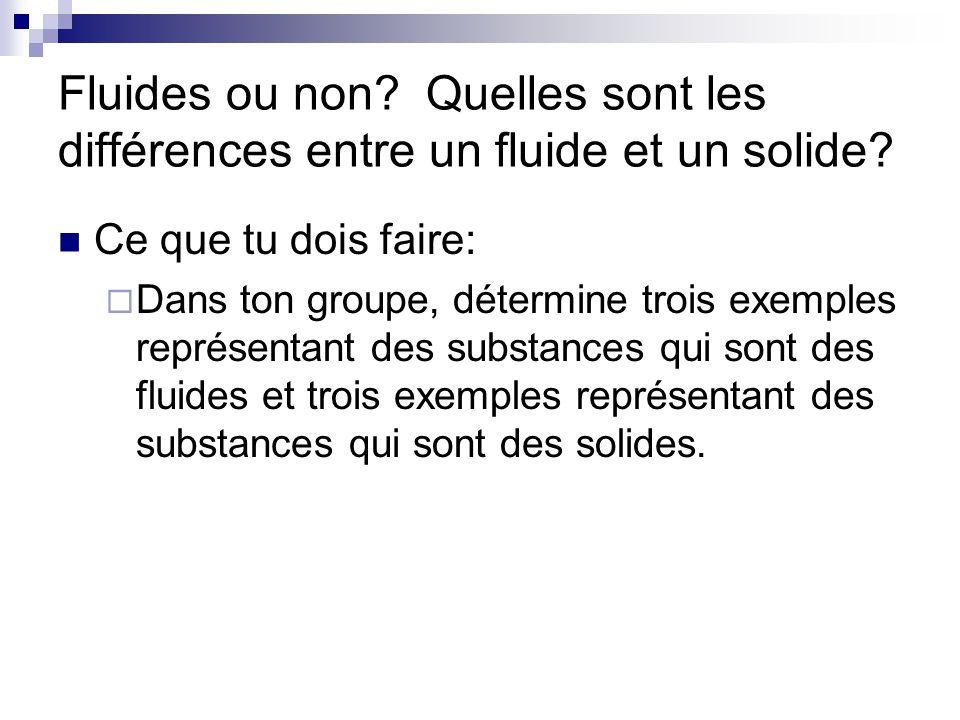 Fluides ou non Quelles sont les différences entre un fluide et un solide