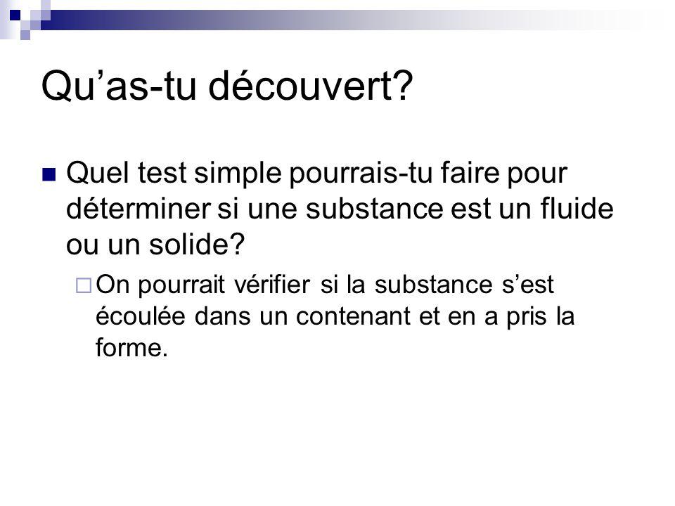 Qu'as-tu découvert Quel test simple pourrais-tu faire pour déterminer si une substance est un fluide ou un solide