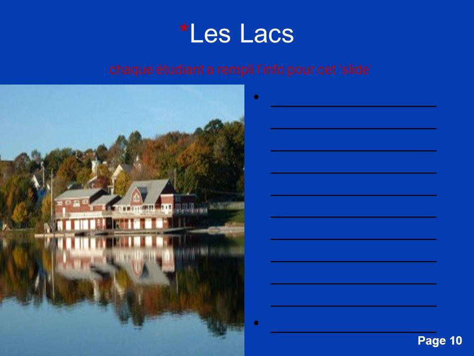 *Les Lacs chaque étudiant a rempli l'info pour cet 'slide'