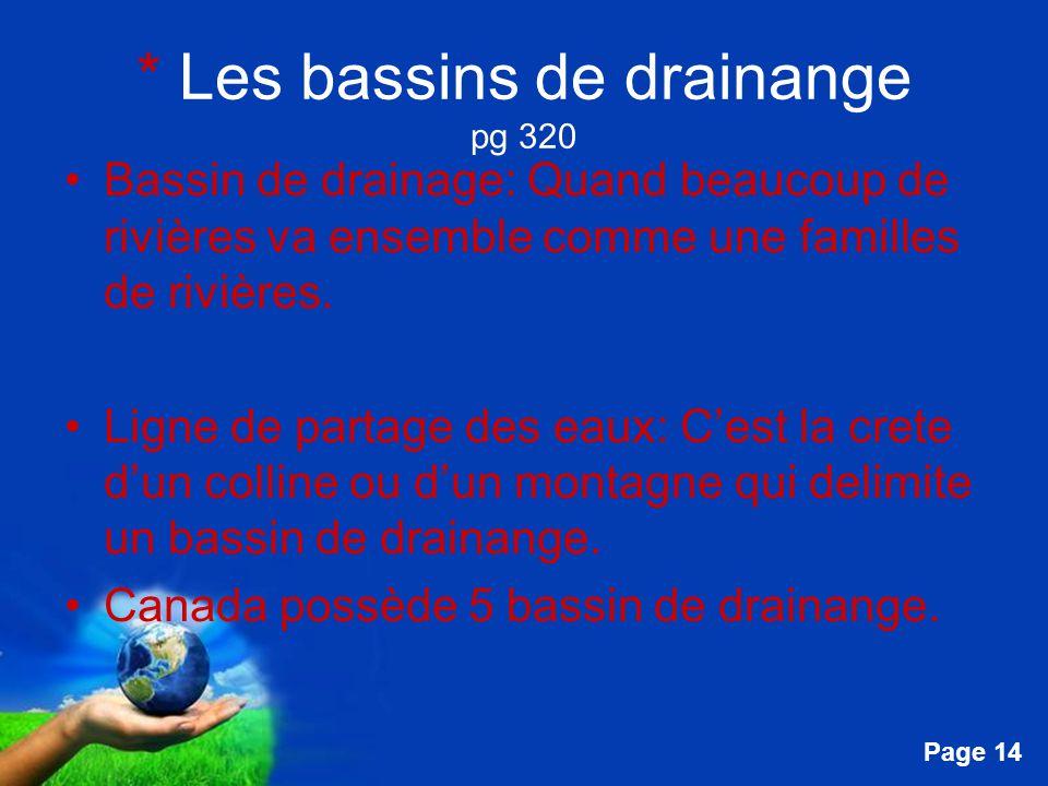 * Les bassins de drainange pg 320