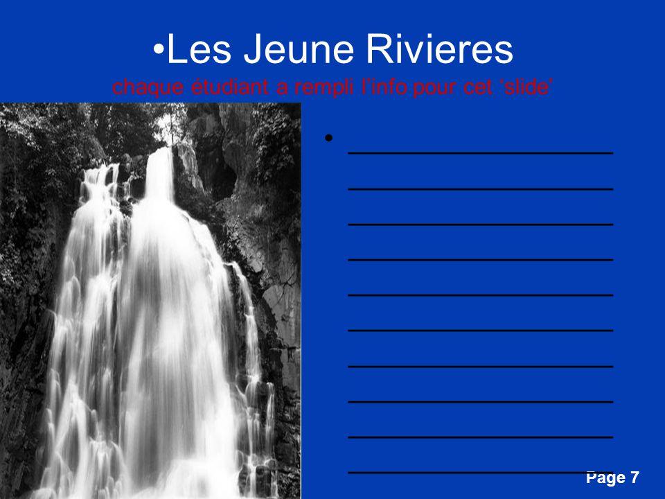 Les Jeune Rivieres chaque étudiant a rempli l'info pour cet 'slide'