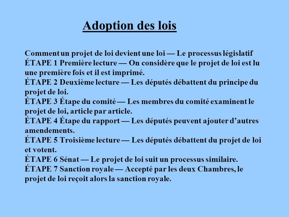 Adoption des lois Comment un projet de loi devient une loi — Le processus législatif ÉTAPE 1 Première lecture — On considère que le projet de loi est lu une première fois et il est imprimé.