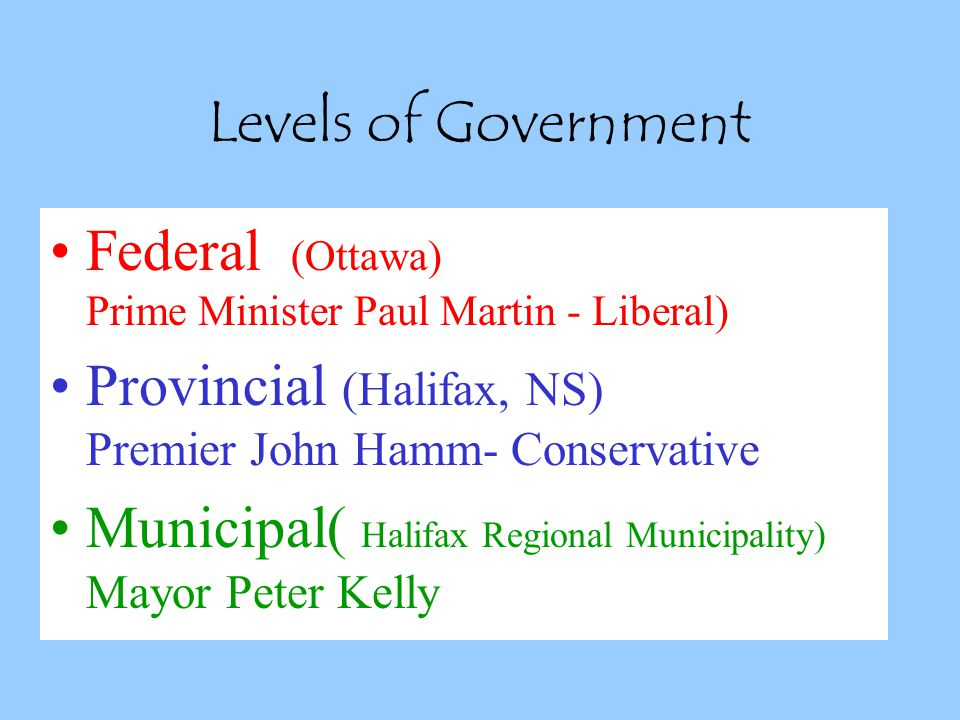 Levels of Government Federal (Ottawa) Prime Minister Paul Martin - Liberal)
