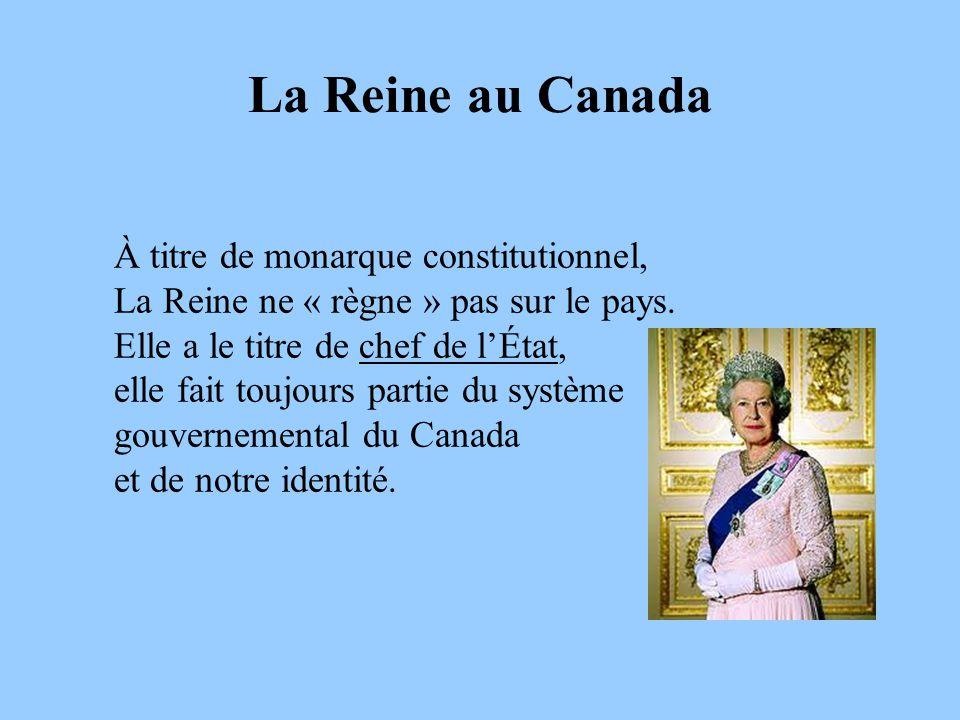La Reine au Canada À titre de monarque constitutionnel,