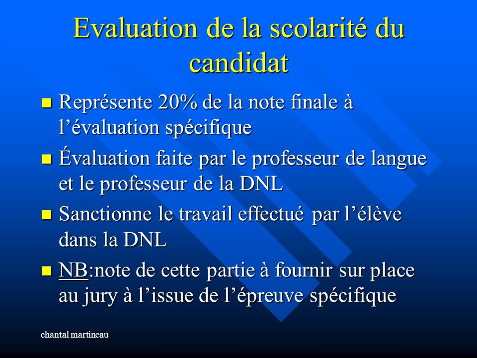 Evaluation de la scolarité du candidat