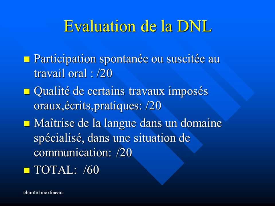 Evaluation de la DNL Participation spontanée ou suscitée au travail oral : /20. Qualité de certains travaux imposés oraux,écrits,pratiques: /20.