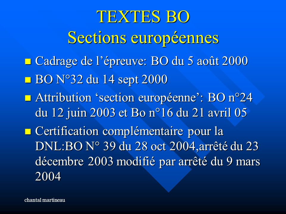 TEXTES BO Sections européennes