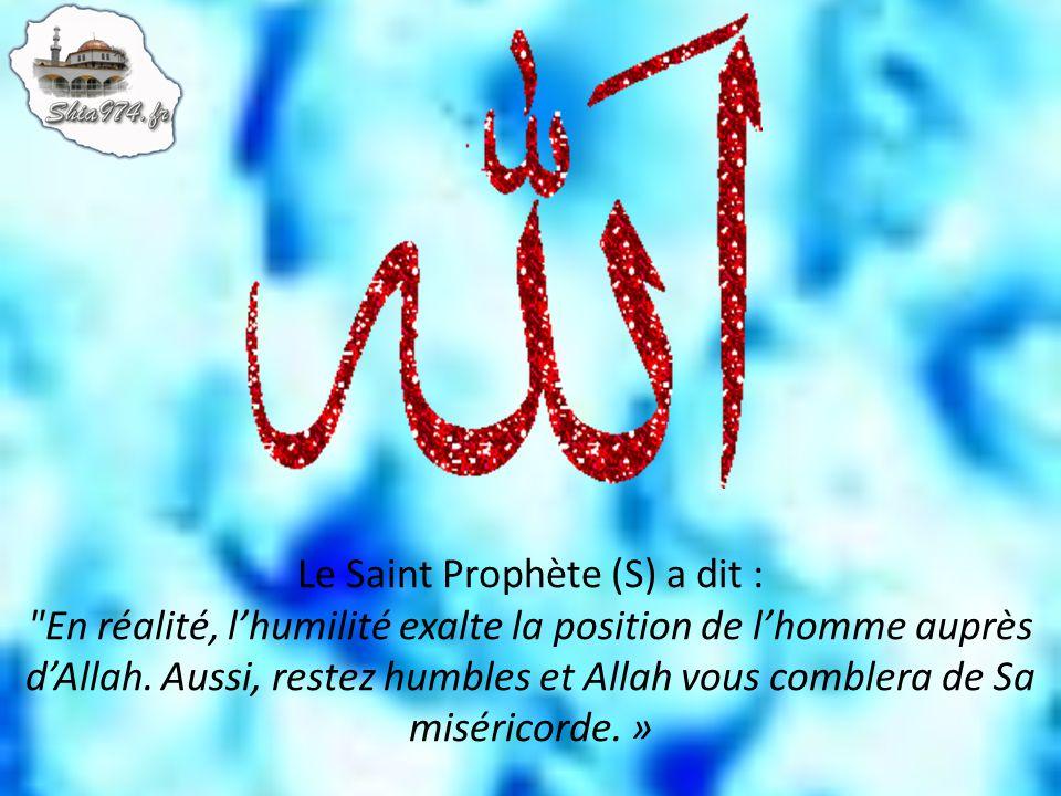 Le Saint Prophète (S) a dit : En réalité, l'humilité exalte la position de l'homme auprès d'Allah.