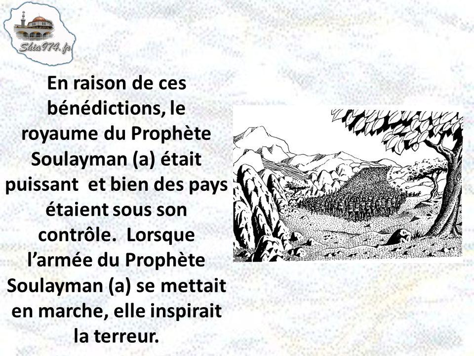 En raison de ces bénédictions, le royaume du Prophète Soulayman (a) était puissant et bien des pays étaient sous son contrôle.