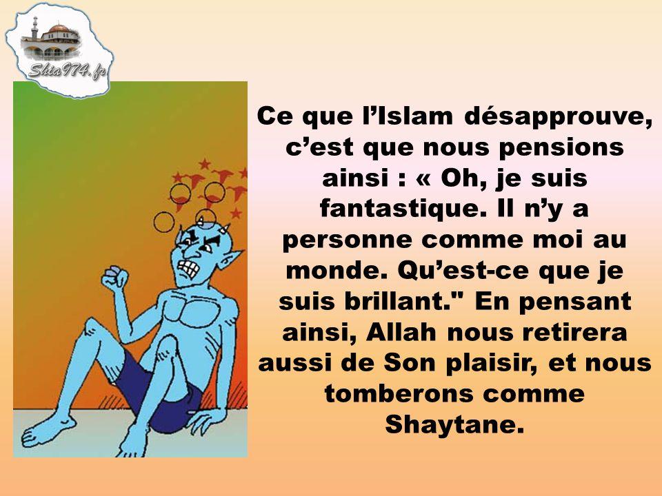 Ce que l'Islam désapprouve, c'est que nous pensions ainsi : « Oh, je suis fantastique.