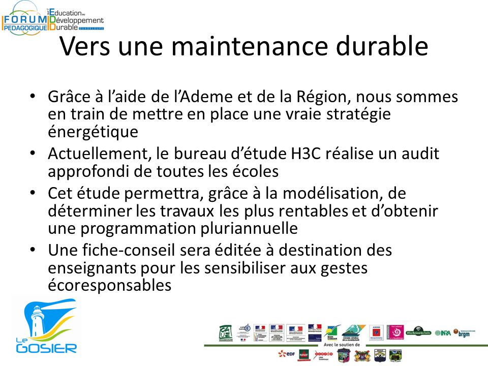 Vers une maintenance durable
