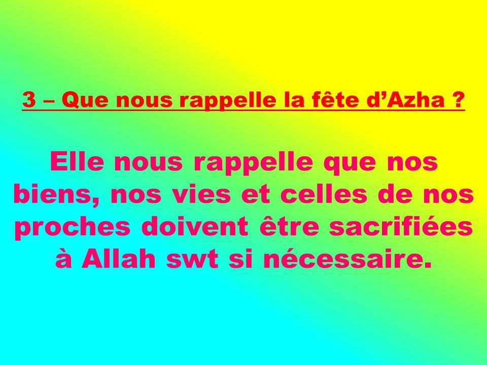 3 – Que nous rappelle la fête d'Azha