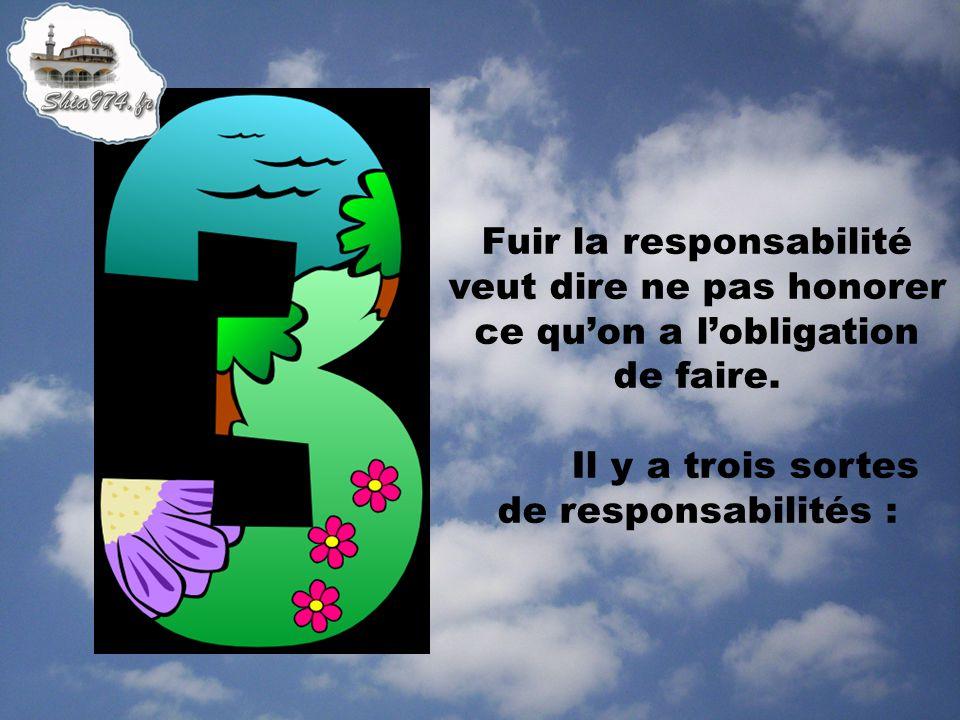 Fuir la responsabilité veut dire ne pas honorer ce qu'on a l'obligation de faire.