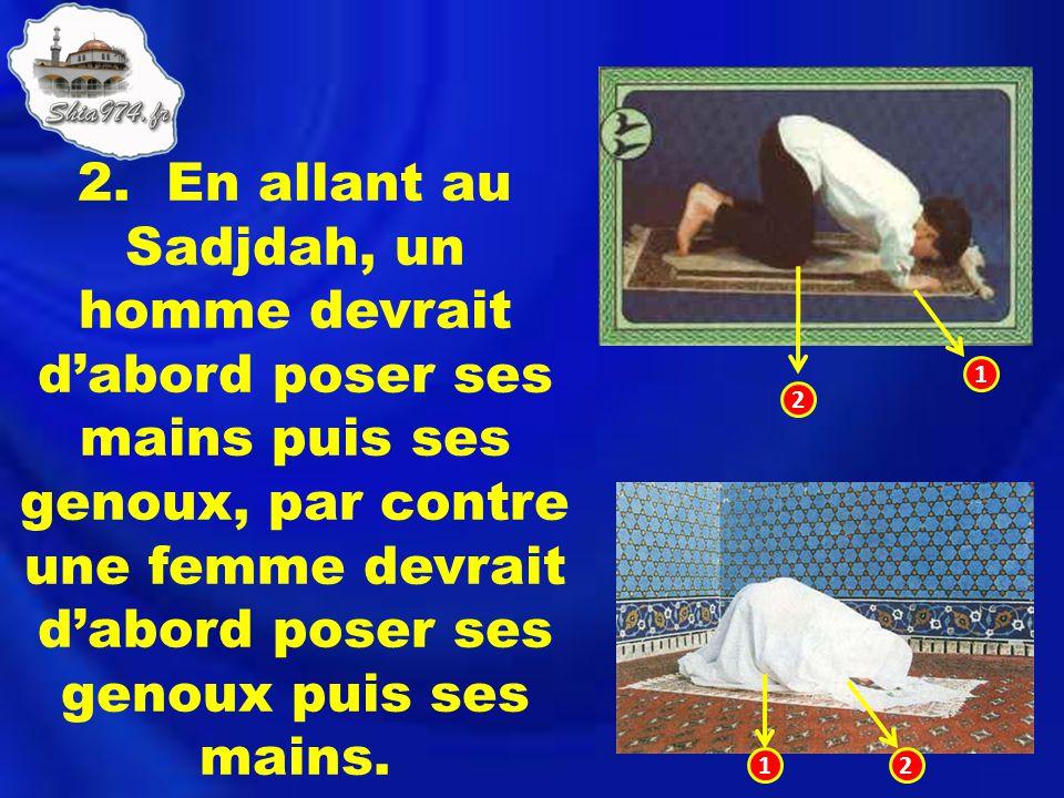 2. En allant au Sadjdah, un homme devrait d'abord poser ses mains puis ses genoux, par contre une femme devrait d'abord poser ses genoux puis ses mains.
