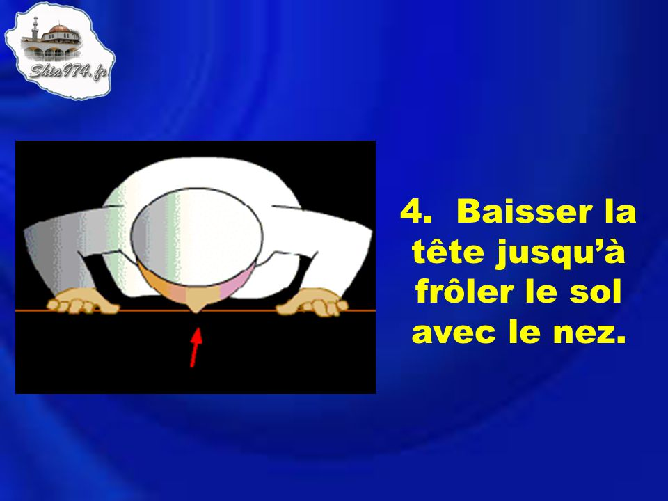 4. Baisser la tête jusqu'à frôler le sol avec le nez.