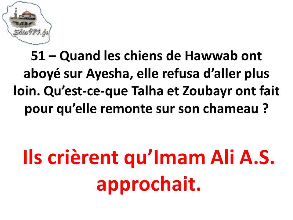 Ils crièrent qu'Imam Ali A.S. approchait.
