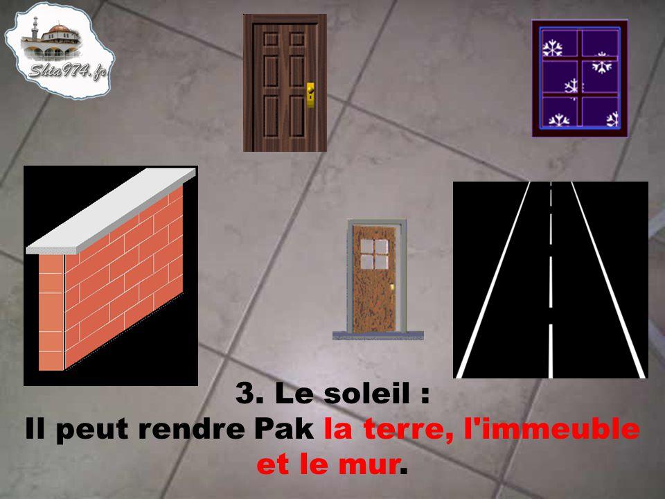 3. Le soleil : Il peut rendre Pak la terre, l immeuble et le mur.