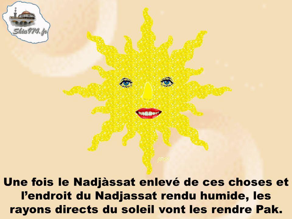 Une fois le Nadjàssat enlevé de ces choses et l'endroit du Nadjassat rendu humide, les rayons directs du soleil vont les rendre Pak.
