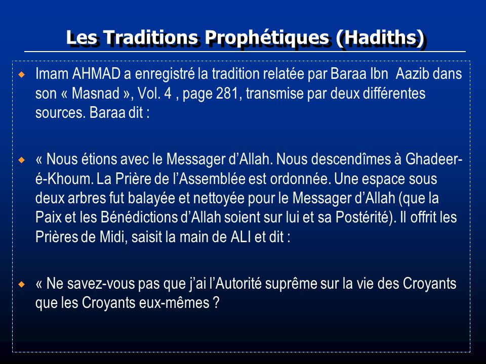 Les Traditions Prophétiques (Hadiths)