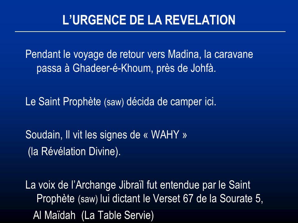L'URGENCE DE LA REVELATION