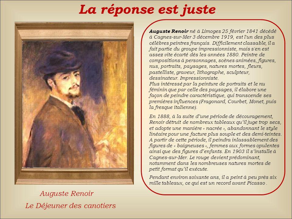 La réponse est juste Auguste Renoir Le Déjeuner des canotiers