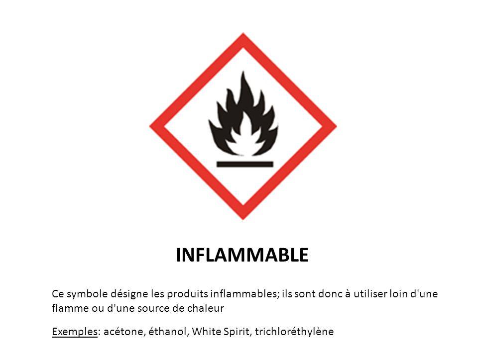 INFLAMMABLE Ce symbole désigne les produits inflammables; ils sont donc à utiliser loin d une flamme ou d une source de chaleur.