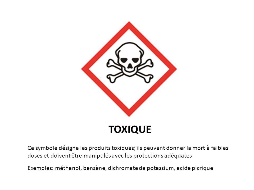 TOXIQUE Ce symbole désigne les produits toxiques; ils peuvent donner la mort à faibles doses et doivent être manipulés avec les protections adéquates.