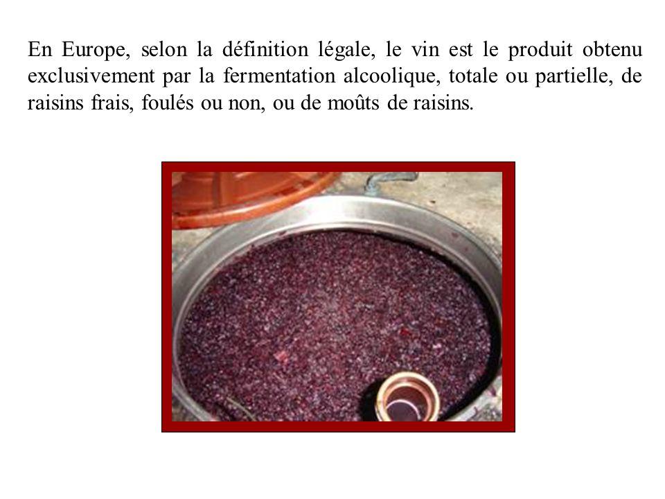 En Europe, selon la définition légale, le vin est le produit obtenu exclusivement par la fermentation alcoolique, totale ou partielle, de raisins frais, foulés ou non, ou de moûts de raisins.