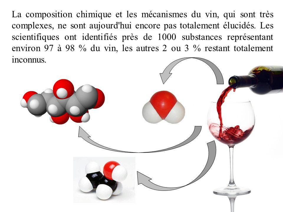 La composition chimique et les mécanismes du vin, qui sont très complexes, ne sont aujourd hui encore pas totalement élucidés.