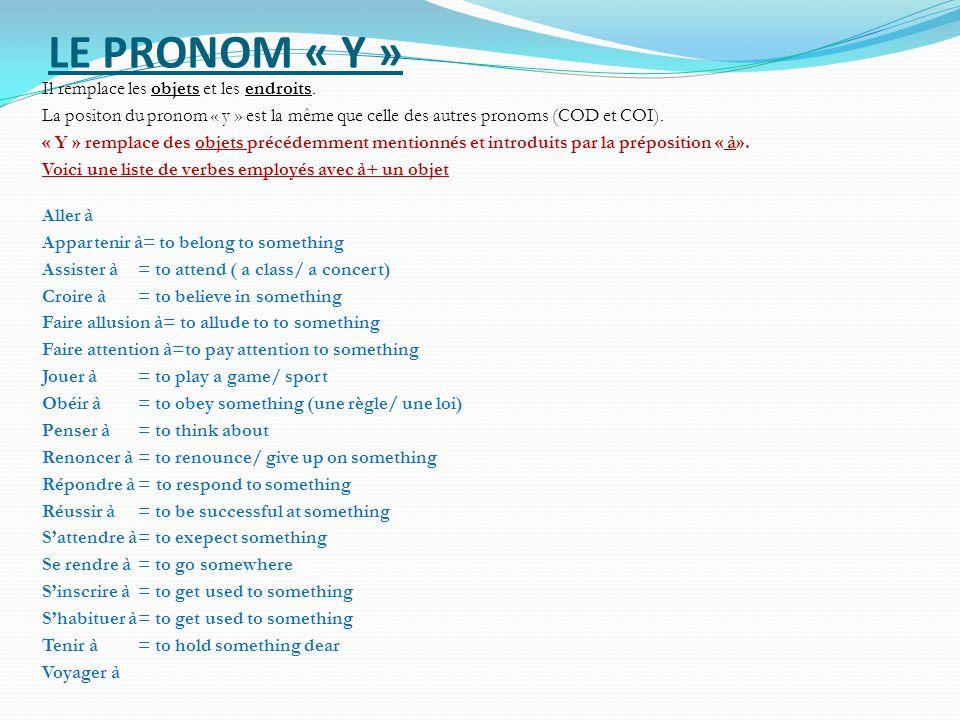 LE PRONOM « Y »
