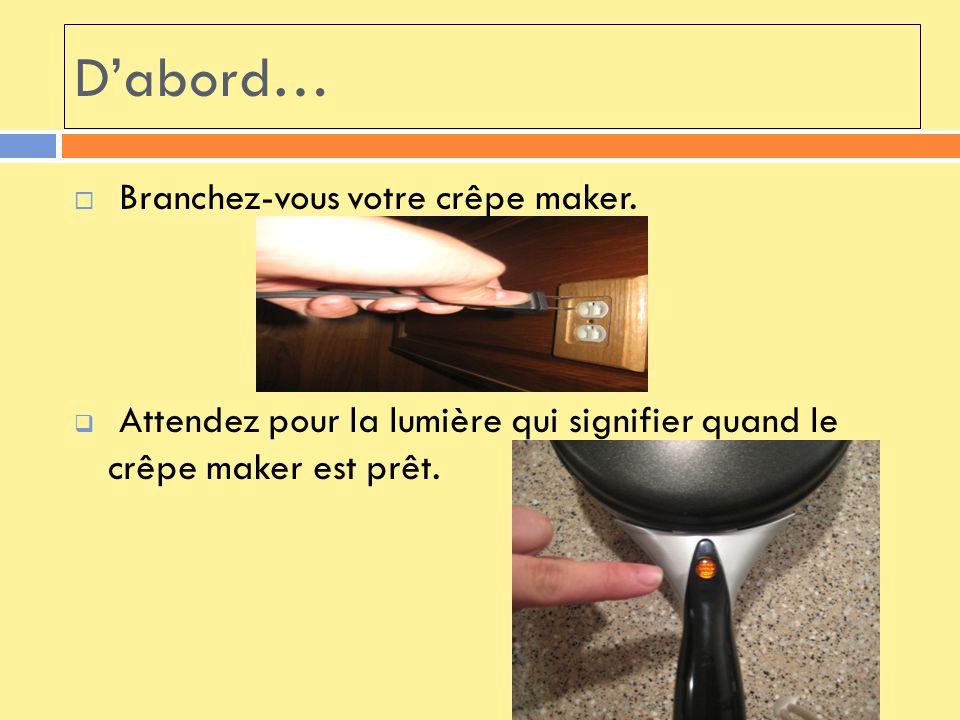 D'abord… Branchez-vous votre crêpe maker.