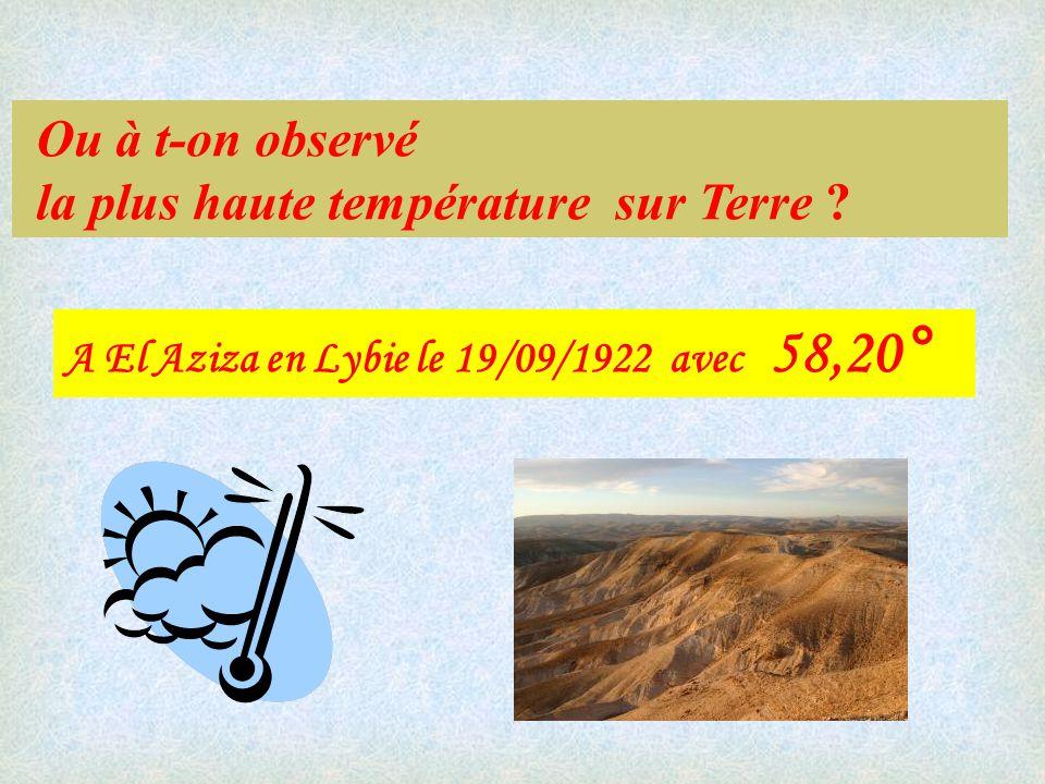 la plus haute température sur Terre