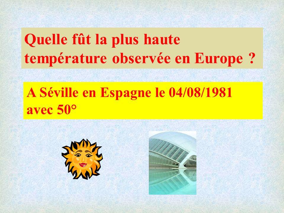 Quelle fût la plus haute température observée en Europe