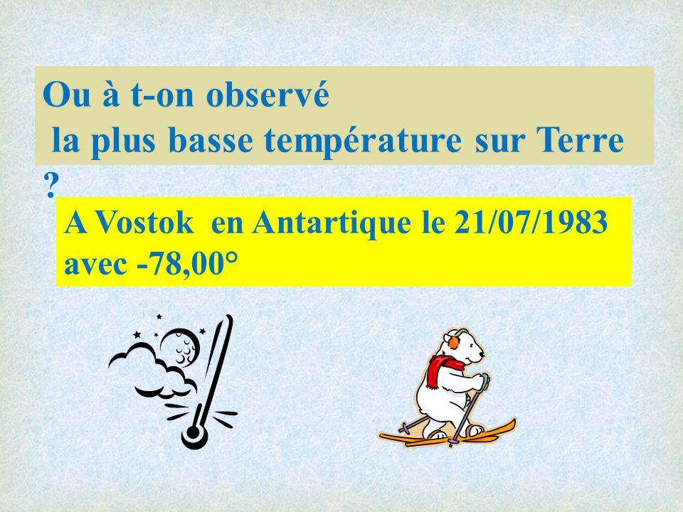 la plus basse température sur Terre