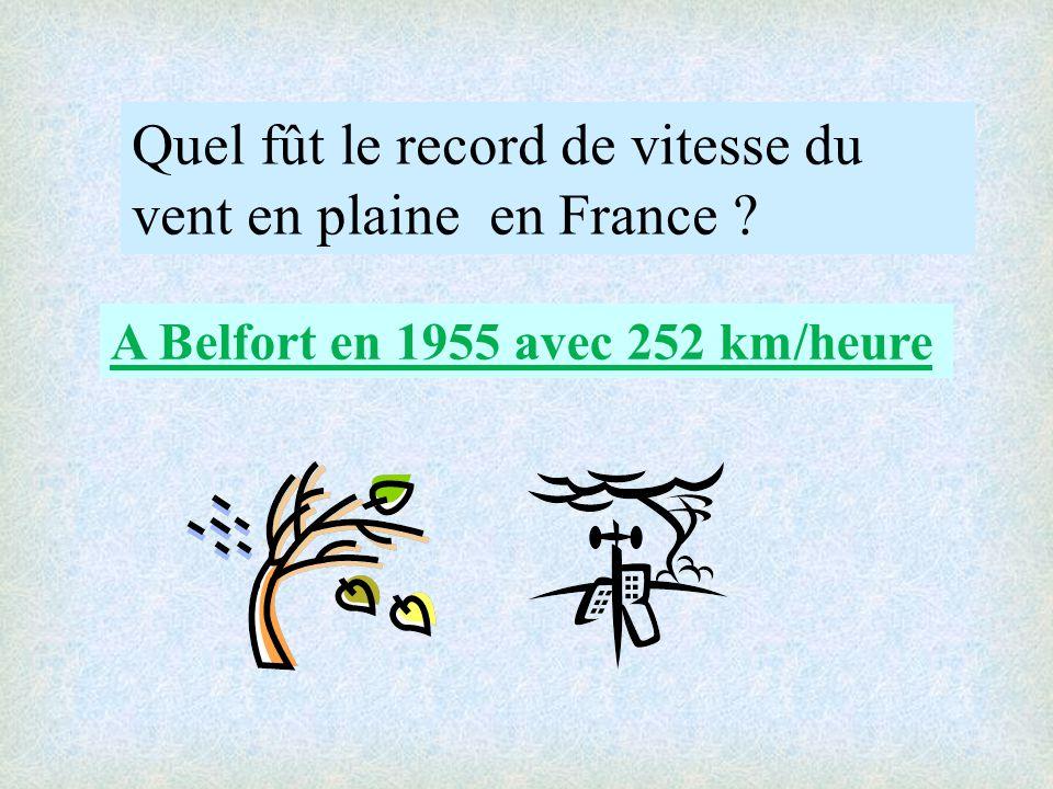 Quel fût le record de vitesse du vent en plaine en France