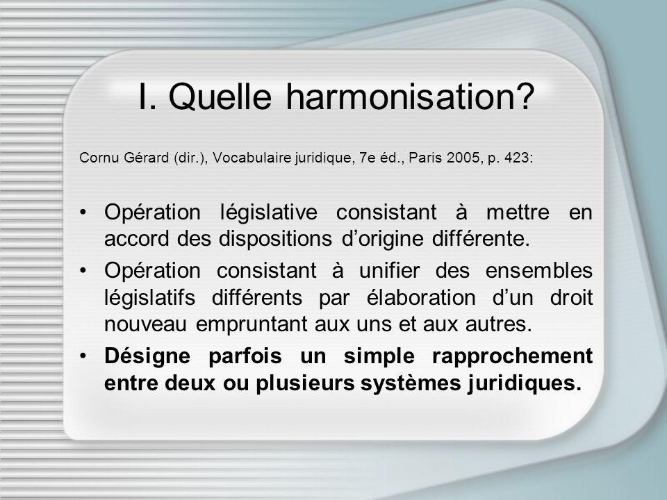 I. Quelle harmonisation