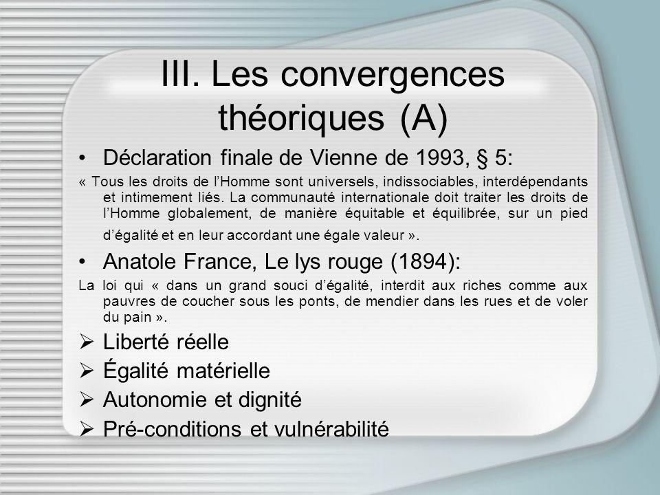 III. Les convergences théoriques (A)