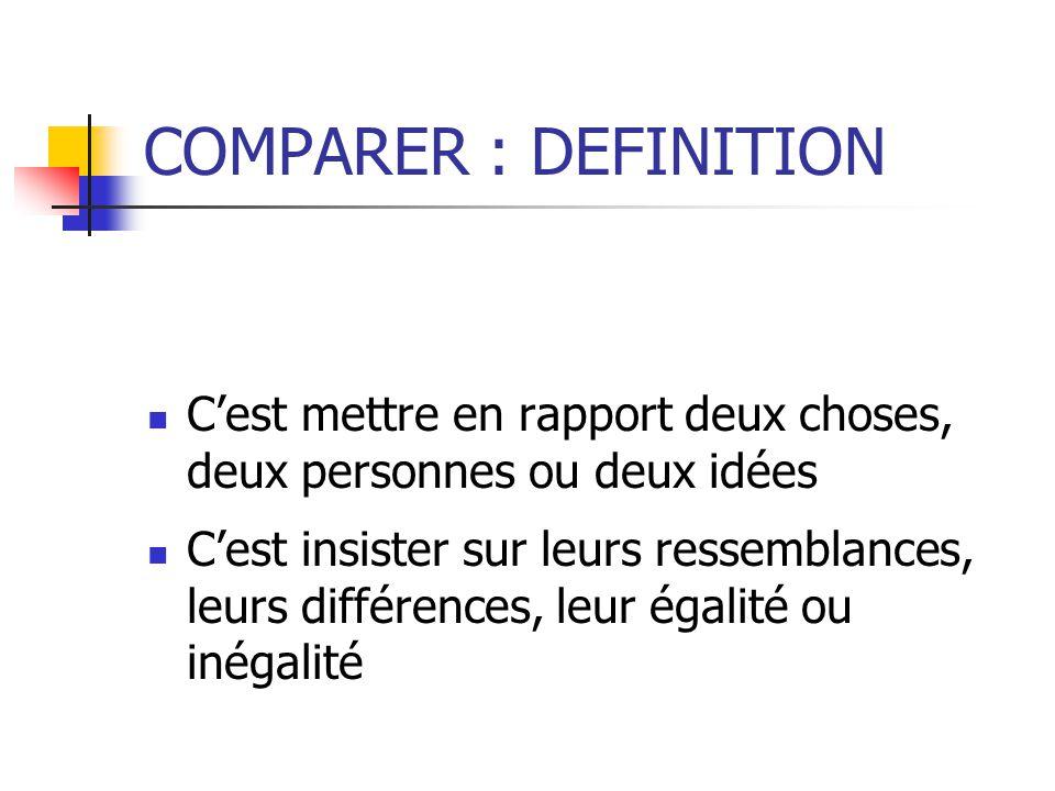 COMPARER : DEFINITION C'est mettre en rapport deux choses, deux personnes ou deux idées.