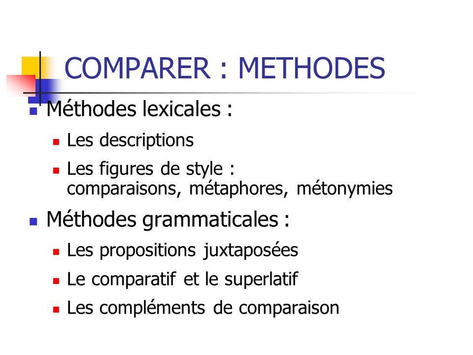COMPARER : METHODES Méthodes lexicales : Méthodes grammaticales :