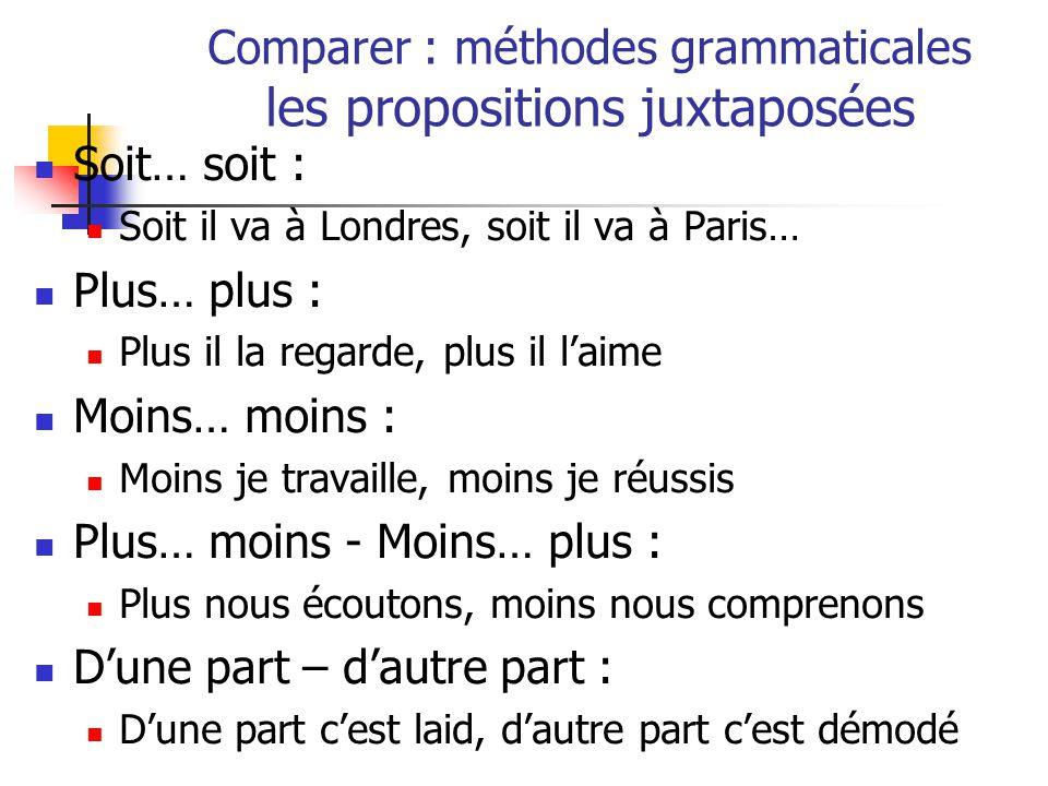 Comparer : méthodes grammaticales les propositions juxtaposées