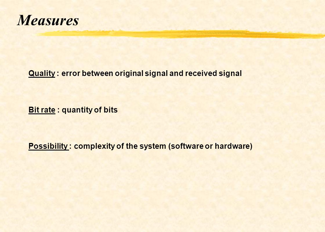 Measures Quality : error between original signal and received signal