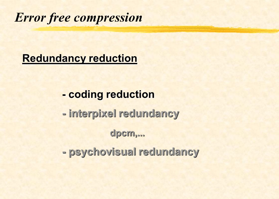 Error free compression