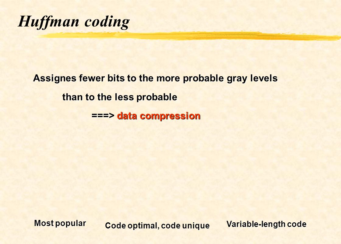 Huffman coding Assignes fewer bits to the more probable gray levels