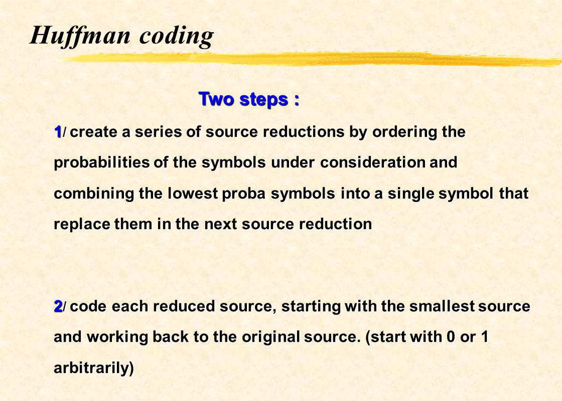 Huffman coding Two steps :