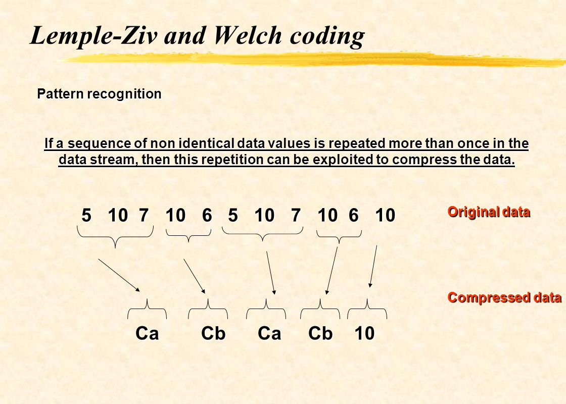 Lemple-Ziv and Welch coding