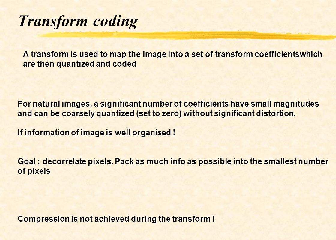 Transform coding A transform is used to map the image into a set of transform coefficientswhich are then quantized and coded.