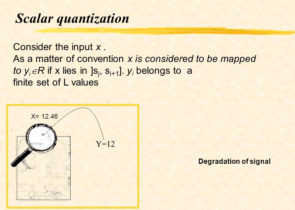 Scalar quantization Consider the input x .