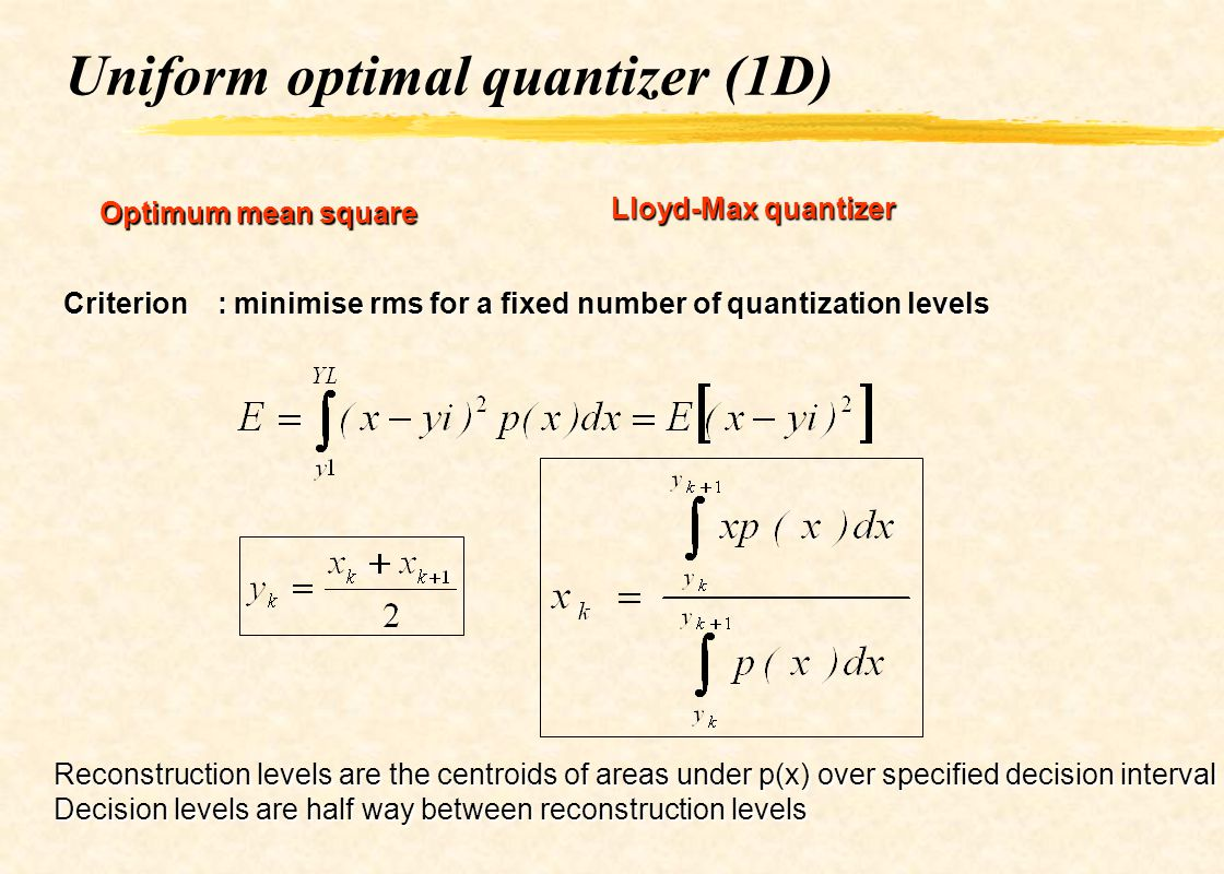Uniform optimal quantizer (1D)