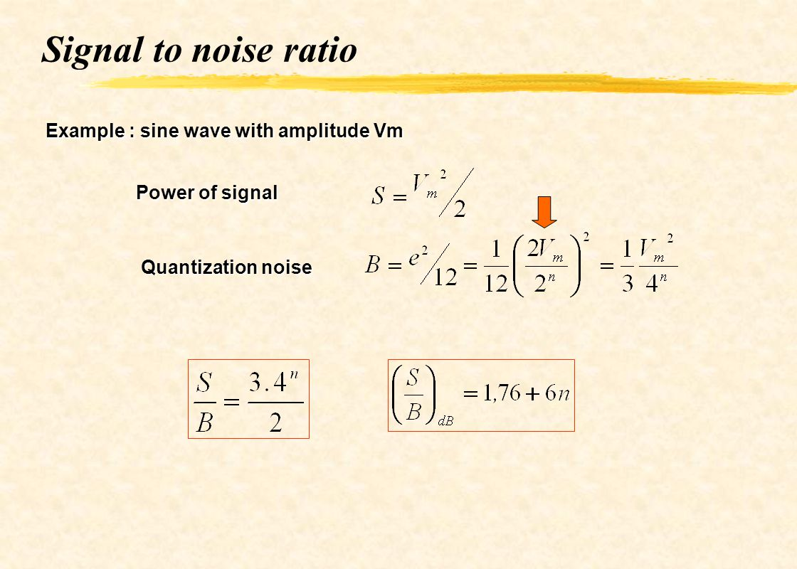 Signal to noise ratio Example : sine wave with amplitude Vm